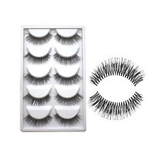 Natural Makeup 10Pairs Long Eye Lashes Handmade Thick False Eyelashes Black New