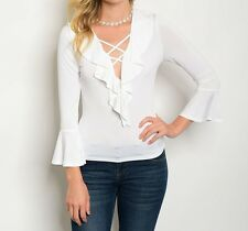 Lace-Up Ruffle Top Ruffle Front Blouse Bell Flounce Cuff Sheer V-Neck Fashion
