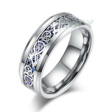 8mm Mens Jewelry Ring Silvering Blue Celtic Dragon Tungsten Carbide Wedding Band