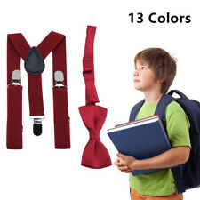 Cute Kids Design Suspenders and Bowtie Bow Tie Set Matching Ties NW