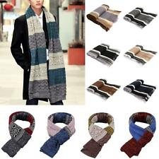 Mens Fashion Soft Striped Knitted Scarf Winter Warm Long Scarf Neckwear Scarves