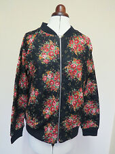 Boden Sophia Bomber Jacket- Black With Floral Pattern- Sizes 12, 14 or 16 SUMMER