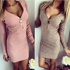 UK Sexy Womens Zip V Neck Long Sleeve Winter Bodycon Party Evening Mini Dress