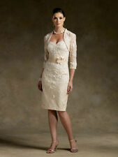 New Short champagne Mother of the Bride dress Free Jacket Size 8 10 12 14 16 18