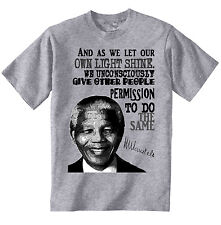 NELSON MANDELA AND AS WE LET OUR OWN - AMAZING GRAPHIC GREY TSHIRT- S-M-L-XL-XXL