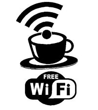 9 x 15  Inch WIFI Free Spot Vinyl Decal Sticker Die Cut Coffee Shop Sign Cafe