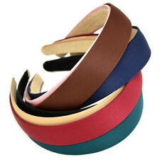 Women Satin Alice Band 2.8cm Wide headband fabric head hair band 6 colours