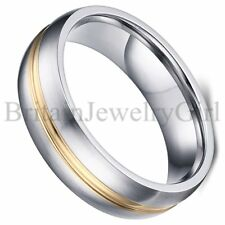 6MM Stainless Steel Men's Silver Gold Tone Wedding Promise Ring Band Size 5-13
