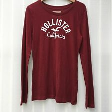 Hollister Abercrombie & Fitch Long Sleeve T-Shirt Burgundy S M L UK 8 10 12 14