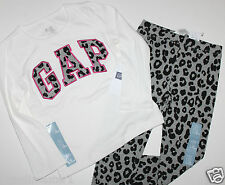 baby Gap NWT Girl 2T 3T 4T 5T Outfit Set Logo Top Leopard Leggings