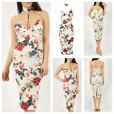 NEW WOMENS LADIES PRINTED HARNESS CHOKER V NECK BODYCON CAMI FLORAL MIDI DRESS