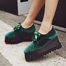 Womens High Platform Creepers Lace Up Velvet Wedge Heel Pumps Casual Shoes Size