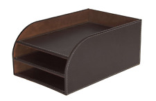 Office Desk Letter Tray 3 Tier Faux Leather Brown Stationery Paper A4 Filing Doc