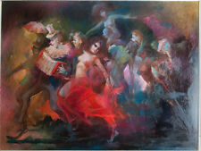 `Marching Clowns with Nude F,' Julian Ritter, 48x30, Original, oil on masonite