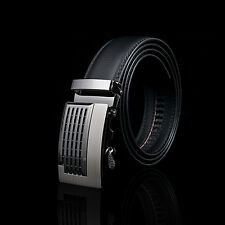 New Fashion Mens Belt Black Automatic Buckle Leather Waist Strap Belts