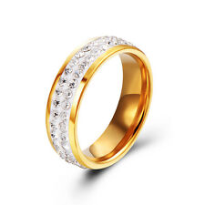 Vintage Stainless steel Cubic Zirconia Womens Mens Gold Rings Size 7 8 9 10 11