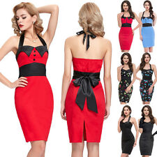 Womens Sexy 50s 60s Vintage Pinup Retro Halter Housewife Party Dress