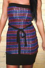 Sexy Strapless Brown Red Blue Sweater Lurex Strapless Tube Mini Dress Tunic Top