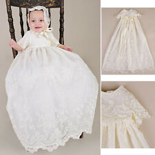 Latest 0-2Y Baby Flower Girls Christening Gown Party Baptism Lace Dress & Hat