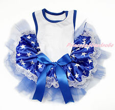 White Sleeveless Patriotic Blue White Stars Lace One Piece Pet Dog Dress Outfit