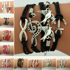 Cute Suede Leather Infinity Charm Bracelet Silver Lots Style Jewelry Nice Gifts