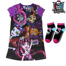 GIRLS MONSTER HIGH DRESS NIGHTIE PJ FREE MATCHING SOCKS COTTON SIZE 7 8 10 12 14