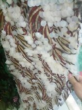 Floral Embroidery W/ Big Dots Sequins Lace Dress Fabric Bridal Gowns 51''/ Yard