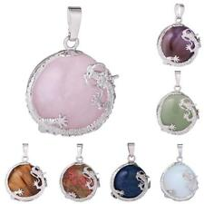 30mm Dragon Inset Gemstone Stone Round Bead Pendant Charms DIY Chain Necklace