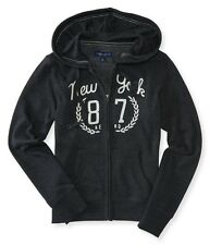AEROPOSTALE Hoodie Track Jacket Sweatshirt New York 87 Laurel S or M Black NWT