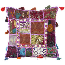 "16"" Purple Patchwork Decorative Throw Pillow Cushion Cover Indian Bohemian Boho"