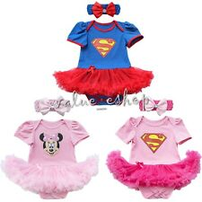 Newborn Vintage Baby Girl Superman Romper Bodysuit Headband Dress Clothes Outfit