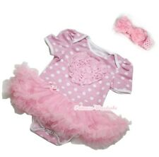 Pink Minnie Baby Dress Romper Embroidered Rose Heart Pink Skirt Jumpsuit NB-12M