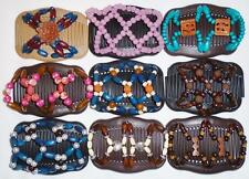 Double Magic Hair Combs, African Style Butterfly Clips, Multicolor Beads S29