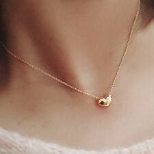 Korean Charm Mini Heart Pendant Long Necklace Yellow Gold Filled Simple