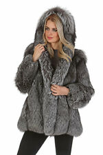 Womens Real Natural Silver Fox Fur Coat Jacket with Hood - Full Pelted Fur