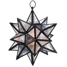 Star Lantern Candle Lamp Tealight Holder Glass Bronze Christmas Lighting