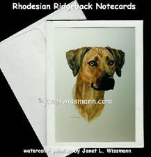 NOTECARD - Rhodesian Ridgeback dog art greeting card mini-print painting ACEO