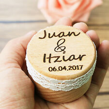 Personalized Gift Rustic Wedding Ring Bearer Box Laser Engraved Custom Jewelry W