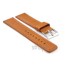 StrapsCo Thick Textured Bull Flat Style Watch Strap in Tan mens or womens Band
