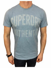 Superdry Mens Authentic Rebel Tee T-Shirt in Overdyed Mid Blue Marl