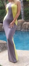 Maya Antonia-3XL SIZE-Elegant Sexy Slimming Yellow-Grey Maxi Dress,Extra Long