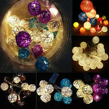Led Rattan Ball Cotton Globe Fairy Light Wedding Party Xmas String Battery Light