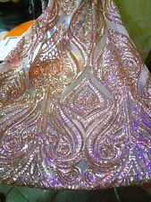 2017 Embroideried Sequins Mesh Lace Fabric Dress Evening Gown Event 51''/ Yard