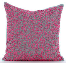 Pink Cotton Linen 40x40 cm Fuchsia Pink Beaded Scroll Cushions Cover - Pink Rush
