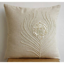 Beige Cotton Linen 60x60 cm Cushion Shams - Pearly Peacock Feather