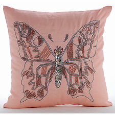 Beaded Butterfly Pink Euro Shams, Cotton Linen 65x65 cm Euro Sham - I Can Fly