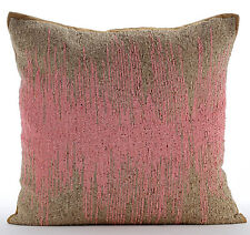 Beaded Ombre Pink Art Silk Cushion Covers 55x55 cm - Pink Phenomena