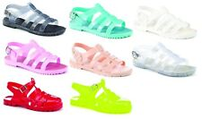 LADIES WOMENS GIRLS JELLY SANDALS GLADIATOR ANKLE STRAPPY FLAT RUBBER SHOES SIZE