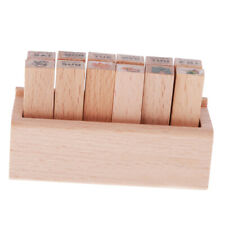 12x/set Little Wooden Box Lovely Diary Pattern Stamp Cute DIY Writing