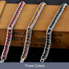 wedding charm bracelet silver plated white Gold Plated tennis fashion crystal